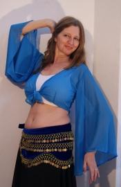 Vleermuistopje chiffon, knooptopje met wijde mouwen Turks BLAUW - Butterfly tie top with wide sleeves  Turkish  BLUE