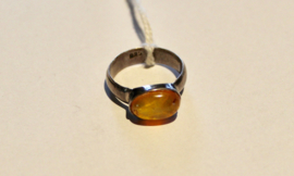 ZILVEREN ring met AMBER steen - maat 54-55 size - Ring SILVER with AMBER stone