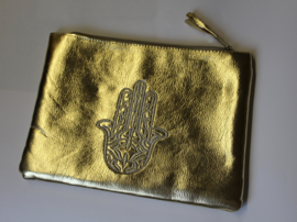 Tasjes met handje van Fatima Hamsa GOUD of BORDEAUX - 24 cm 17 cm - Purses / Pouches hand of Fatima GOLD or BURGUNDY (DARK RED)