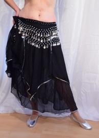 Rok orientaals tulpmodel ZWART ZILVER - Bellydance skirt BLACK, SILVER  rimmed