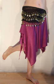 Soepel Asymmetrisch 6-Punten rokje met splitjes PAARS - one size - Asymmetrical 6-points skirt with slits PURPLE
