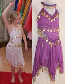 Buikdanskostuum met muntjes meisjes 3-delig : topje, hoofdbandje en ROKJE (4-8 jaar) PAARS, WIT- 3-piece Girls Bellydance costume PURPLE, WHITE