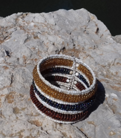 Flexibele Kraaltjes armband Ibiza stijl 3D WIT GOUD BRUIN ANTRACIET /OLIE kleur - Flexible Beaded bracelet Ibiza fashion style 3D WHITE GOLD BROWN  OIL color
