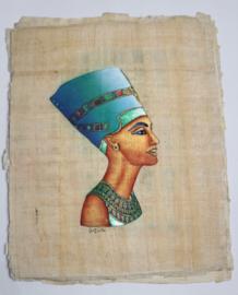 Originele Egyptische papyrus nr 10 met faraonische afbeeldingen  - Nefertete - Papyrus from Egypt nr 10