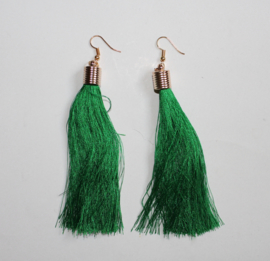 Kwasten oorbellen Bohemian Ibiza Hippie chic GROEN, ZWART, BLAUW - Tassel earrings Boho Ibiza Hippy chick GREEN, BLACK, BLUE