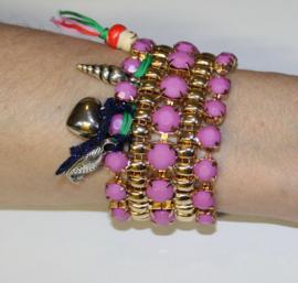 """""""Frozen"""" armband met bedeltjes hartje, schelpje, vis ROZE GOUD - """"Frozen"""" charm bracelet, heart, shell, fish PINK GOLD"""