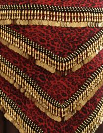 Luxe panter jungle buikdanssjaal driehoekig ROOD ZWART GOUD - LGPanterJungle - Posh bellydance coinbelt RED BLACK GOLD triangular Panther Jungle