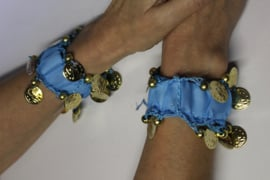 1 Muntjes armband TURQUOISE / TURKS BLAUW GOUD - Small Medium - 1 Coin bracelet TURQUOISE / TURKISH BLUE  GOLD