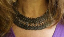 Boho Hippie Chic Halssnoer Choker faraonisch, ZILVER kleur met kleine muntjes - farao8 - Bohemian Ibiza hippy chick, Pharaonic necklace, choker, SILVER color with small coins