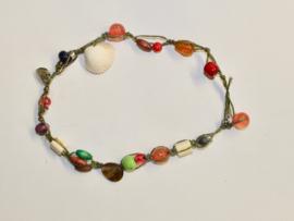 Ibiza stijl geknoopte wikkel armband / halssnoer met hartje en schelp - Yasmin2 - Ibiza style braided macramé bracelet / necklace with heart and shell