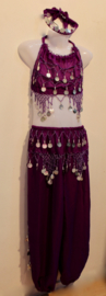 Buikdans Harem setje haremkostuum meisje / jongen 3-delig PAARS ZILVER : topje + HAREMBROEK - 5-8 jaar - 5-8 years old 3-piece bellydance Harem costume girls / boys : top + headband + harempants PURPLE SILVER