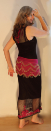 2-delig : transparante gehaakte jurk  ZEER DONKER BRUIN / FUCHSIA + bijpassende onderjurk - M L XL - 2-piece : transparent crocheted dress  VERY DARK DEEP BROWN, FUCHSIA PINK + matching under dress
