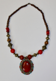 Tribal fusion halssnoer, hanger BRUIN, ROOD, GOUD, kralen - Tribal fusion RED pendant, necklace with BROWN, RED and GOLD colored beads
