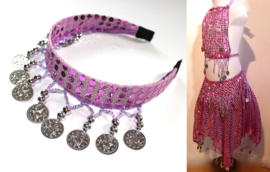 Glitter Luxe Buikdanskostuum met muntjes meisjes 3-delig : topje, GLITTER-DIADEEM en ROKJE (4-8 jaar)  ROZE ROSE - ZILVER - 3-piece Girls Bellydance bellydance glitter costume  PINK, SILVER decorated + GLITTER TIARA