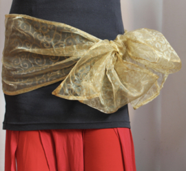 GOUDEN transparant rechthoekig glans sjaaltje organza met krullen motief - 250 cm x 27 cm - GOLDEN transparent rectangle glow shawl organza with curly motive