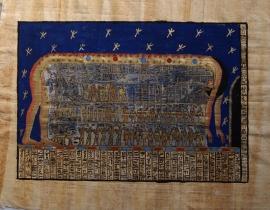 Originele Egyptische papyrus met faraonische afbeeldingen 7 godin Noet Nuit