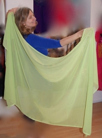 Sluier rechthoekig chiffon LIME GROEN - 75cm x 230cm  - Veil rectangle chiffon LIME GREEN