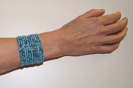 "Flexibele Kraaltjes armband "" Frozen "" Ibiza stijl TURQUOISE LICHT BLAUW- Dames / Meisjes - Ladies / Girls - Flexible Beaded bracelet  "" Frozen "" Ibiza fashion style TURQUOISE LIGHT BLUE"