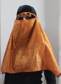 1001 Nacht Haremsluier gezichtssluier ORANJE KOPER GOUD met dessin met hoofdbandje Niqab - one size fits all - 1001 Night Facial veil Nikab ORANGE BRASS GOLD color with motive, headband attached