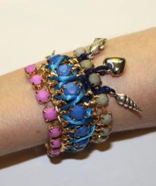 """""""Frozen"""" armband met bedeltjes hartje, schelpje, vis ROZE BLAUW GRIJS GOUD - """"Frozen"""" charm bracelet, heart, shell, fish PINK BLUE GREY GOLD"""