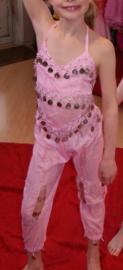 Buikdanskostuum meisjes / jongens 3-delig met muntjes : topje, hoofdband en HAREMBROEK (ROZE, WIT, FLUO GROEN, PAARS, ROOD) - 4-8 jaar - 4-8 years old 3-piece bellydance costume girls / boys : top + headband + harempants (PINK, WHITE, GREEN, PURPLE, RED)