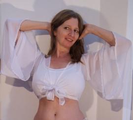 Vleermuis topje chiffon, knooptopje met wijde mouwen WIT - Butterfly top with wide sleeves WHITE