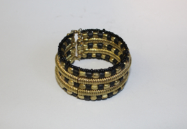 Armband Indian Tribal kraaltjes ZWART GOUD - one size - bracelet Indian Tribal BLACK GOLD