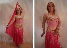 4-delig Buikdanskostuum LICHT ROZE met GOUDEN krullen, versierd met pailletten en kralen - 4-piece fully sequinned bellydance costume SOFT PINK with GOLDEN curly design