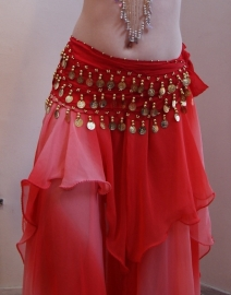 Rok bicolor chiffon 1 1/2 laag ombré ROOD - one size - Bellydance skirt gradient chiffon 1 1/2 layer ombré RED