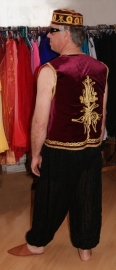 Bordeaux heren gilet met goud krullen borduursel - WINERED / BURGUNDY waistcoat GOLD embroidered