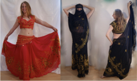 5-delig Indian Gypsy kostuum met borduursel ROOD, ZWART - BELLYWOOD - 5-piece Indian Gypsy Costume embroidered RED, BLACK