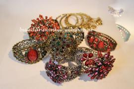 "Crystal sparkle glitter scharnier armband ""Ster Bloem 1"" ORANJE GOUD - Strass hinge bracelet  ""Star Flower 1"" ORANGE GOLD diamanté"