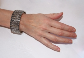 1 Faraonische Armband  ZWART ZILVER - M Medium - 1 Pharaonic bracelet BLACK with SILVER