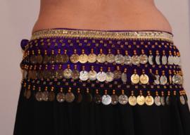 Fluwelen Buikdansgordel met kralen, haakwerk, muntjes, glinsterband PAARS GOUD -  G54  M/L/ XL - Coinbelt for bellydancing crocheted decorated with beads, coins and glitter band PURPLE GOLD