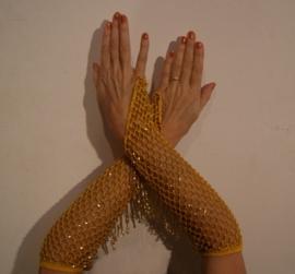 Handschoenen gehaakt GEEL met GOUDEN kraaltjes - H6g one size - Traditional bellydance arm cuffs : 1 pair of YELLOW bellydance-gloves, crocheted/knitted with GOLDEN beads, glittering