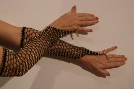 Handschoenen gehaakt ZWART met GOUDEN kralen - H1Gold - Small Medium - Crocheted beaded gloves BLACK GOLD