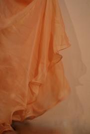 2-lagen rok met golvende zoom ZACHT ORANJE -  M, L, XL - 2 layer skirt SOFT ORANGE with undulating hem - Jupe doublée ORANGE