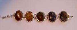 Armband met 5 verschillende (kunst) stenen - size adaptable - Bracelet with 5 different (artificial) stones