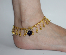 "1 GOUDKLEURIG enkelbandje met belletjes en Good Luck hartje met het ""Blauwe Oog"" - 26 cm - 1 metal anklet GOLD COLOR with little bells and ""Blue Heart with The Eye for Good Luck"""