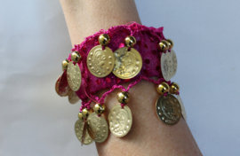 Muntjes armband  met glimstipjes, polsarmband ZWART TURQUOISE GROEN FUCHSIA PAARS met GOUDEN muntjes - one size - Coin bracelet shiny dots, wrist bracelet BLACK TURQUOISE PURPLE FUCHSIA GREEN, GOLDEN coins decorated