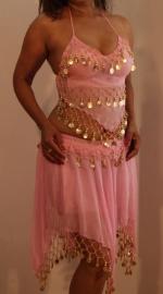 3-delig Harem setje dames : hoofdbandje + topje + rokje LICHT ROSE ROZE- XXS XS S - 3-piece set harem costume ladies SOFT PINK