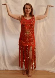 Haremjurk met 12 uitwaaierende punten ROOD GOUD Cleopatra -36/38  S/M - Cleopatra  12-slit Haremdress RED GOLD