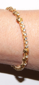 India meisjes armband glinster strass GOUD en ZILVER kleurig - A9 - Extra Small  5,5 cm diameter - Indian style bracelet for girls strass GOLD and SILVER color