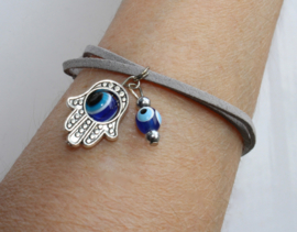 "Veter armband ""Nazar Boncuk Chamsa"" - one size adaptable - ""Nazar Boncuk Hamsa"" Leather Lace bracelet"