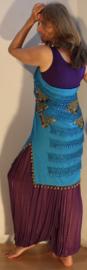 Sarong gordel met kralenhaakwerk TURQUOISE BLAUW, versierd met GOUD - Extra Large XL, XXL, XLong - Sarong hipshawl hipscarf TURQUOISE BLUE, Egyptian handycraft, crocheted decorated with  GOLD