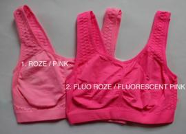 Mouwloos sportief stretch topje ROZE, FLUO NEON ROZE met wafeltjes motief- one size 36/38 - Sport Fitness top PINK, FLUORESCENT PINK waffled back