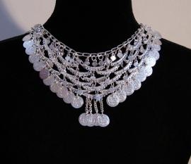 Boogjes halssnoer ZILVER kleurig met muntjes - Coins necklace SILVER color with bows