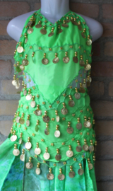 Luxe buikdans kostuum  voor meisje : Buikdansrok cirkelrok met 2 splitten LICHT GROEN TURQUOISE + Topje + Heupgordel + Hoofdbandje - luxury belly dance costume girl : Full circle bellydance skirt with 2 slits BRIGHT GREEN + Top + Hip belt + Head band