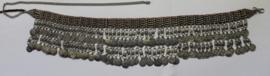 Authentieke vintage, ZILVER kleurige metalen Banjari Afghaanse Tribal muntjes heupgordel  - Tr4 - Original vintage banjari Afghan coinbelt SILVER colored