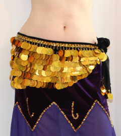 Luxe Buikdansgordel ZWART FLUWEEL met grote, GOUDEN, glimmende plastic hologram munten - LG Hologram Bling Gold Big plastic coins - Posh bellydance BLACK velvet hipbelt, big, GOLDEN, plastic hologram coins decorated